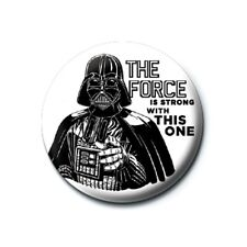 Genuine Star Wars Darth Vader The Force Is Strong Button Badge Pin Lucasfilm