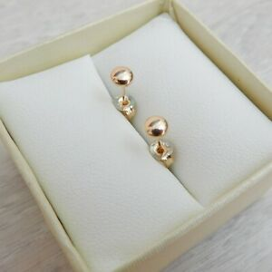Solid 9k Yellow Gold 4mm Flattened Ball Stud Earrings -Genuine New (9ct 375 9kt)