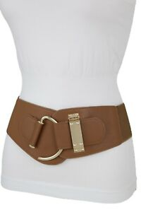 Women Brown Faux Leather Wide Elastic Waisted Fashion Belt Hook Buckle L XL XXL