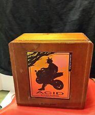 "ACID CIGARS by Drew Estate Kuba Kuba Wooden Cigar Box 7.5""  Square Biker"