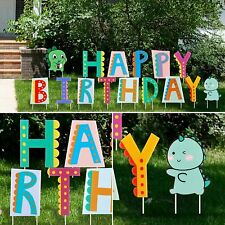 FiGoal Happy Birthday Yard Signs with Cute Dinosaurs Corrugated Stake.