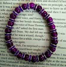 Purple & Rhinestones Handcrafted Elasticated Bracelet
