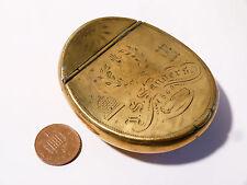 Antique 1869 Masonic Symbols Brass Snuff Box, Eye,Beehive, Hands etc. Saunders