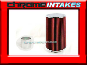 """RED UNIVERSAL 3"""" TALL FLANGE DRY AIR FILTER FOR DODGE AIR INTAKE+PIPE"""