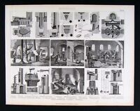 1874 Print - Mining Foundary Furnaces Tools Ovens Mine