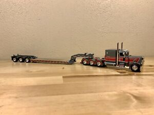Dcp 1/64 Peterbilt 389 Tri Axle And Lowboy Semi  Truck Tractor Trailer Farm Toy