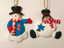 Set/2 Snowman Polymer Clay Xmas Tree Ornament Peppermint Candy Tree Hat Star New