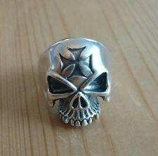 Silver Half Skull With Maltese Cross Size U 17.32g