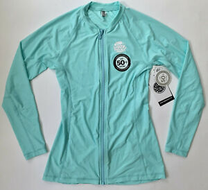 RIP CURL Women's Small 10 Light Blue Rashguard Long Sleeve Zip Front Swim New