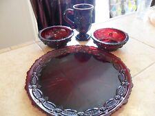 "4 Pc Avon Ruby Red ""Cape Cod"" Dinner Plate,2 Berry Bowls And 1 Mug No Dmg"