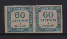 """FRANCE STAMP TIMBRE TAXE N° 9 """" CHIFFRE TAXE 60c BLEU EN PAIRE """" NEUF x TB T436"""