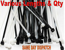 PLASTIC NYLON CABLE TIES BLACK WHITE NATURAL ZIP TIES CABLE TIDY ALL SIZES