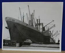 8x10 B&W Photograph C-4 Class Cargo Ship Hoosier Mariner at Long Beach CA 1957