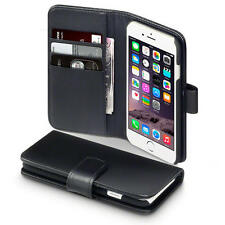 Real Leather Wallet Case for Apple iPhone 6/6S - Black