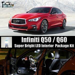 White LED Light Interior Package Kit for 2014 - 2018 2019 2020 Infiniti Q50 Q60