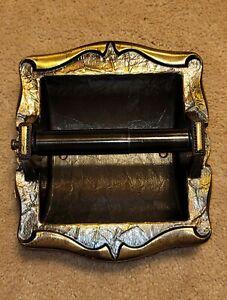 Vintage Amerock 9049 Recessed Hammered Antique Brass Toilet Paper Holder
