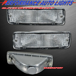 Pair Clear Park Signal Bumper Lights for 89-95 Toyota Pickup / 90-91 4Runner