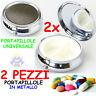 2x PORTAPILLOLE in METALLO Rotondo TASCABILE Pillole MEDICINE da TASCA Pastiglie