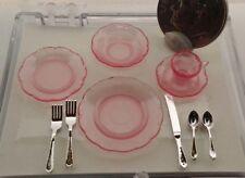 Dollhouse Miniature Chrysnbon Pink Depression 5pc Place Setting + flatware !:12