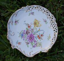 Antique Dresden Reticulated Porcelain Plates Meissen Flowers Gold Trim Qty 2