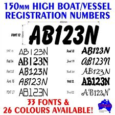 2x150mm BoatTinny REGISTRATION rego numbers letters marine grade decal stickers