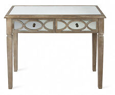 2 Draw Wood Lattice Mirrored Console side table entry table mirrored