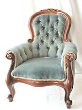 New listing Vintage Child'S Velvet Carved Victorian Style Armchair, 1940'S