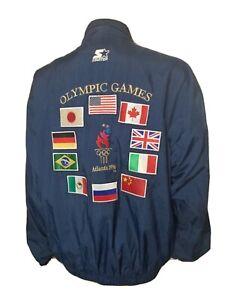 Vintage Olympic Starter Jacket Embroidered Atlanta 1996 Summer Games 90s Flags