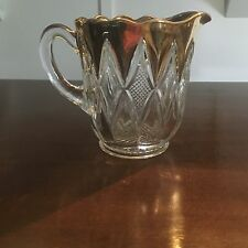 EAPG Beaded Diamonds Water Pitcher Clear Gold 4 1/2 inch tall EUC