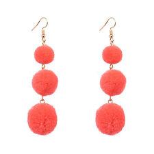 1Pair Women Girl Soft Plush Ball Long Drop Dangle Hook Earrings Fashion Jewelry
