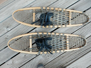 Vintage 10 X 36 Canadian Snowshoes, Wood and Leather, Made Canada