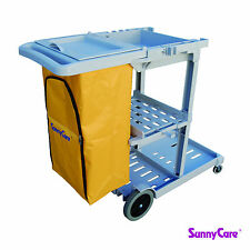 SunnyCare® Gray Plastic Janitorial Cleaning Cart With 25 Gallon Bag