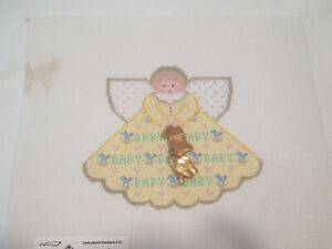 BABY ANGEL W/ CHARMS-PAINTED PONY-HANDPAINTED NEEDLEPOINT CANVAS