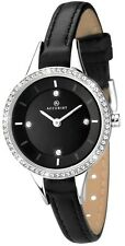 Accurist 8041 Crystal Black Leather Strap Ladies Watch 2 Year Guarantee RRP £65.