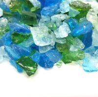 "TUNDRA BLUE ICE - 1/2"" - 2/4"" Large Fireplace Fire Pit Fireglass Glass Crystals"