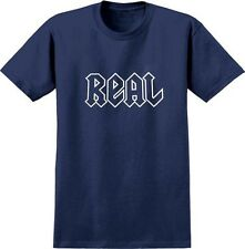 """REAL SKATEBOARDS DEEDS T-SHIRT -  """" AC/DC TEE """" - NAVY BLUE/WHITE LARGE"""