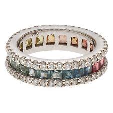 Genuine 18K White Gold Natural Rainbow Saphire Diamond 1.00ct Full Eternity Ring