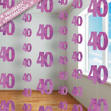 40th BIRTHDAY PARTY SUPPLIES PK 6 GLITZ PINK DANGLING HANGING DECORATIONS