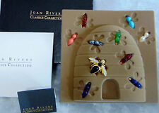 MIB Joan Rivers 11PC Crystal BEE PIN Bug Brooch Interchangeable Color Cabochons