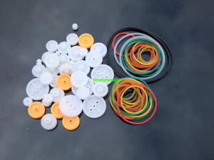 1sets Pulley package Plastic pulley group Model accessories DIY Rubber belt
