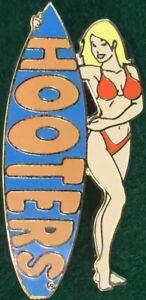 HOOTERS RESTAURANT Sexy Hot BLOND Waitress RED Bikini Girl w/BLUE Surfboard PIN