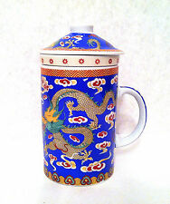 Chinese Porcelain Tea Cup Coffee Mug with Lid & filter in Blue Dragon design