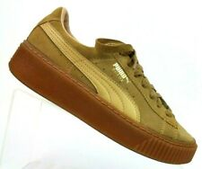 Puma Tan Suede Platform Creepers Lace Up Fashion Sneakers Women's US 6.5 EUR 37