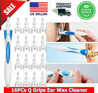2 handles+32 Pcs heads Ear Cleaner Wax Removal Spiral Soft Swab pick Q-Grips kit