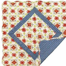 """Great Finds TASHA 24"""" Square Quilted Cotton Table Topper Red, Blue, White Floral"""
