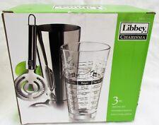 Cocktail Shaker Kit Bar Mixing Recipe Glass Strainer- Bartender Set