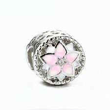 Silver Pink Magnolia Flower Enamel Spacer Bead Fit 925 Silver Charms Bracelet