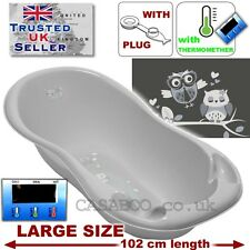 LARGE Lux 102cm length Baby Bath Baby Tub with thermomether and DRAIN PLUG Grey