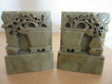 Antique Chinese Soapstone carved floral style bookeneds