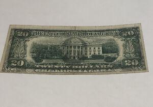 1977 $20 Federal Reserve Note Wet Ink Transfer Error Note